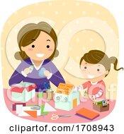 Stickman Kid Girl Mom Paper House Illustration