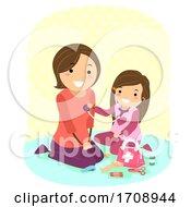 Kid Girl Mom Doctor Play Check Up Illustration