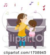 Stickman Kid Girl Mom Learn Piano Illustration