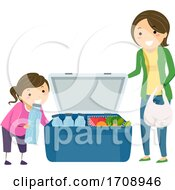 Stickman Kid Girl Mom Cooler Food Illustration