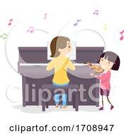 Poster, Art Print Of Stickman Kid Girl Mom Piano Violin Illustration