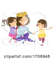 Stickman Kids Girls Mom Queen Play Illustration