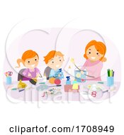 Stickman Kids Mom Cleaning Chores Illustration