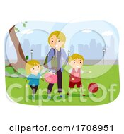 Kids Mom Physical Activity Illustration