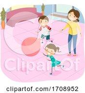 Stickman Kids Mom Indoor Balloon On String