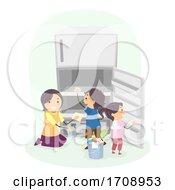 Kids Mom Teach Clean Refrigerator Illustration