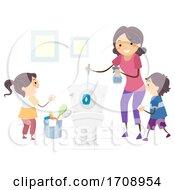 Kids Mom Teach Kids Clean Toilet Illustration