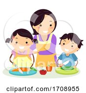 Mom Supervise Kids Safety Kitchen Illustration