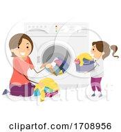 Stickman Mom Teach Kid Laundry Help Illustration