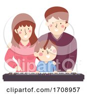 Poster, Art Print Of Family Kid Piano Keyboard Illustration