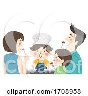 Kid Boy Family Cook Food Taste Illustration