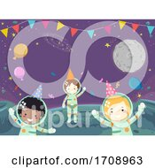 Kids Astronaut Outer Space Party Illustration