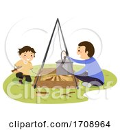Stickman Kid Boy Dad Open Fire Set Up Illustration