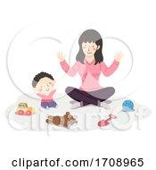 Poster, Art Print Of Kid Boy Baby Mom Play Illustration