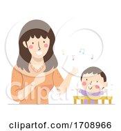 Kid Boy Baby Mom Sing Illustration
