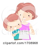 Kid Boy Mom Enrollment Paper Illustration