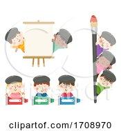 Poster, Art Print Of Kids Painters Borders Illustration