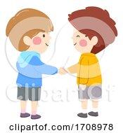 Poster, Art Print Of Kids Boys Shake Hands Illustration