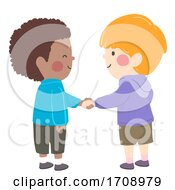 Poster, Art Print Of Kids Boys Black Shake Hands Illustration