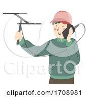 Man Wildlife Tracking Illustration