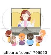 Kids Laptop Watch Scientist Illustration