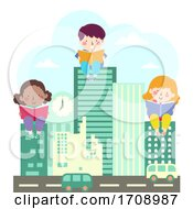 Kids City Buildings Book Read Illustration