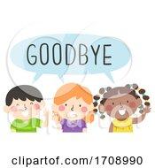 Kids Wave Goodbye Illustration