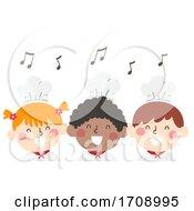 Kids Chefs Singing Notes Illustration