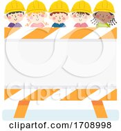Kids Construction Engineer Sign Board Illustration