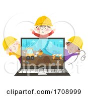 Poster, Art Print Of Kids Construction Engineers Laptop Illustration