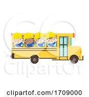 Kids Construction Engineer School Bus Illustration