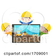 Poster, Art Print Of Kids Construction Engineers Tablet Illustration