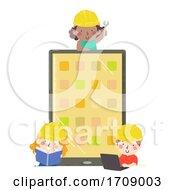 Kids Engineer App Developer Tablet Illustration