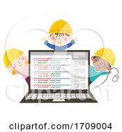 Kids Engineer Programmer Laptop Illustration
