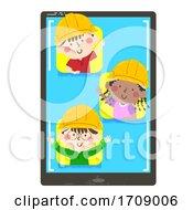 Kids Engineers Developer Tablet Illustration