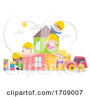 Kids Engineers House Of Blocks Illustration