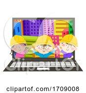 Kids Engineers Laptop Buildings Illustration
