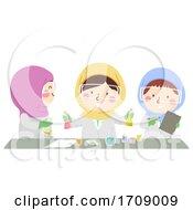 Kids Girls Muslim Science Illustration