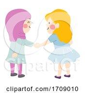Poster, Art Print Of Kids Girls Muslim Shake Hands Illustration