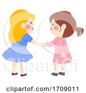 Poster, Art Print Of Kids Girls Shake Hands Illustration