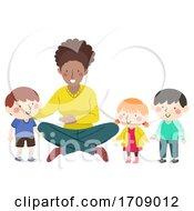 Kids Introduce New Friend Teacher Illustration
