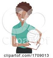 Girl Volleyball Coach Illustration