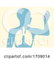 Silhouette Man Lungs Inhaler Illustration