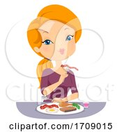 Poster, Art Print Of Girl Eat Low Carbohydrate Fad Diet Illustration