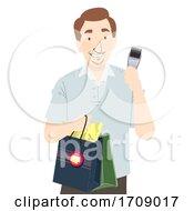 Man Shopping Grooming Illustration