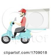 Man Delivery Man Scooter Big Box Illustration