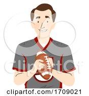 Man Father Football Jersey Ball Illustration