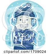 Man Freeze Coldest Weather Illustration
