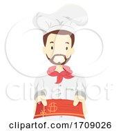 Poster, Art Print Of Man Chef Restaurant Gift Card Illustration