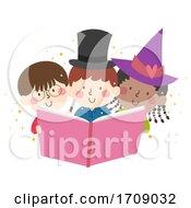 Kids Read Book Learn Magic Illustration